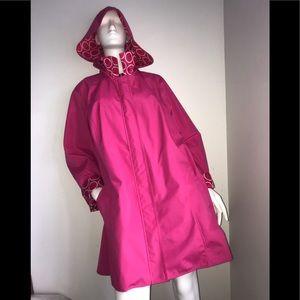 Dennis Basso Hot Pink White Rain Coat 3X